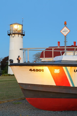 Motor Lifeboat and Chatham Lighthouse at dawn, Chatham, MA. © 2021 Kenneth R. Sheide