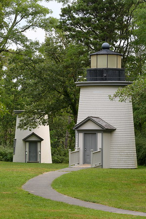 Two of the Three Sisters Lighthouses built in 1892 to replace the original brick towers that were built in 1837. Eastham, MA. © 2021 Kenneth R. Sheide