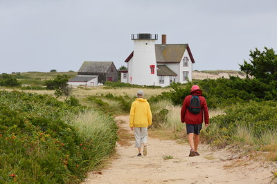 Hikers going to Stage Harbor Lighthouse built 1880. Chatham, MA. © 2021 Kenneth R. Sheide