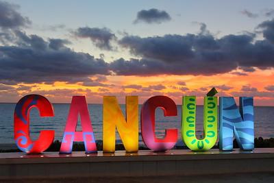 Cancun sign at dawn. Playa Delfines, Cancun, Quintana Roo, Mexico. © 2018 Kenneth R. Sheide