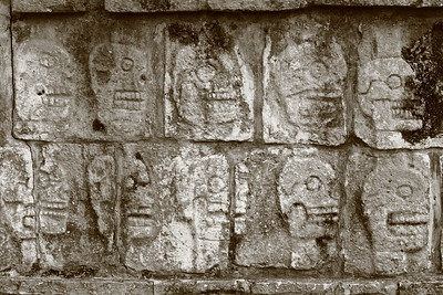 Skulls on wall of Tzompantli, Chichen Itza, Yucatan, Mexico. © 2018 Kenneth R. Sheide