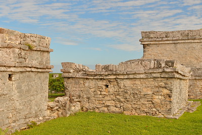 Temple of Early Cycle with Watch Tower Temple in distance. Tulum, Quintana Roo, Mexico. © 2018 Kenneth R. Sheide
