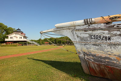 Old boat and replica Roanoke River Lighthouse in Plymouth, NC. © 2014 Kenneth R. Sheide