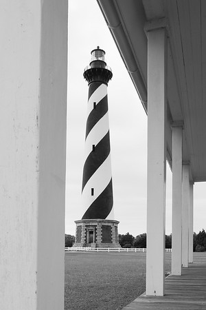 Cape Hatteras Lighthouse viewed from the porch of one of the keepers' quarters. © 2011 Kenneth R. Sheide