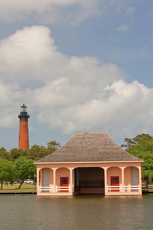 Currituck Beach Lighthouse behind the old boathouse, NC. © 2011 Kenneth R. Sheide