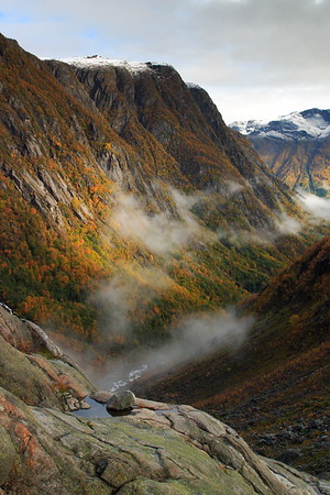 View down the valley from the Folgefonn Glacier near Buer, Norway. © 2004 Kenneth R. Sheide