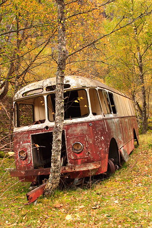 Old bus in valley near Eidfjord, Norway. © 2004 Kenneth R. Sheide