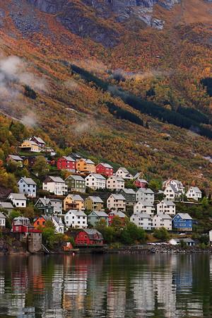 Hillside homes in Odda, Norway. © 2004 Kenneth R. Sheide