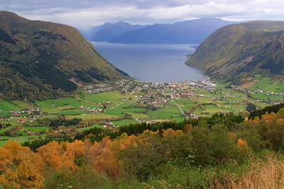 View down to Vik, Norway and the Sognefjord. © 2004 Kenneth R. Sheide
