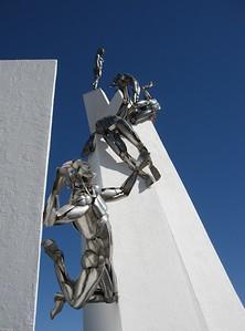 Stainless steel figures on Alto de la Alianza monument near Tacna, Peru. © 2011 Kenneth R. Sheide