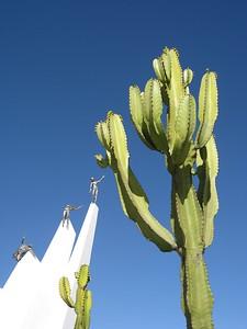 Cacti with statues of Alto de la Alianza monument in distance. Tacna, Peru. © 2011 Kenneth R. Sheide
