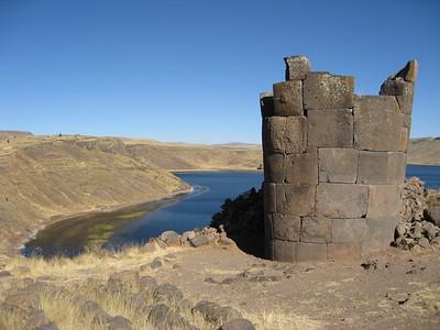 Chullpa tomb above Umayo Lake at Sillustani, Peru. © 2012 Kenneth R. Sheide