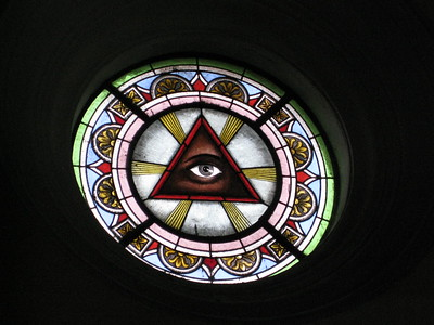 Stained glass window in cathedral designed by Gustave Eiffel in Tacna, Peru. © 2011 Kenneth R. Sheide