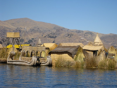 View of village on Uros islands, Lake Titicaca, Peru. © 2012 Kenneth R. Sheide