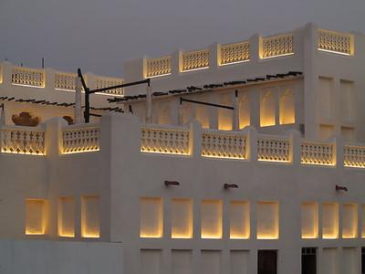 Building illuminated at dusk, Souq Waqif, Doha, Qatar. © 2014 Kenneth R. Sheide