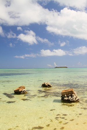 Remains of pier with Managaha Island in distance. Saipan. © 2010 Kenneth R. Sheide