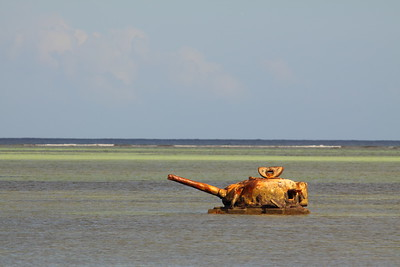 World War 2 tank abandoned in the water on Saipan. © 2010 Kenneth R. Sheide
