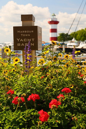 Flowers and sign with Harbor Town Lighthouse in distance. Hilton Head, SC. © 2021 Kenneth R. Sheide