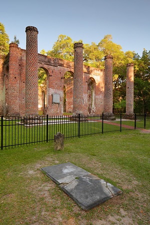 Old grave marker with Sheldon Church ruins, Yemassee, SC. © 2021 Kenneth R. Sheide