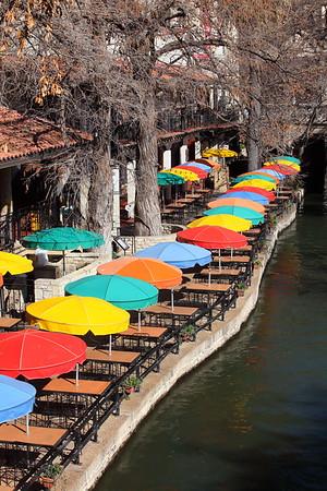 Colorful umbrellas along river walk, San Antonio, TX. © 2014 Kenneth R. Sheide