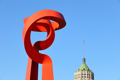 Friendship Torch with Tower Life building in distance, San Antonio, TX. © 2014 Kenneth R. Sheide