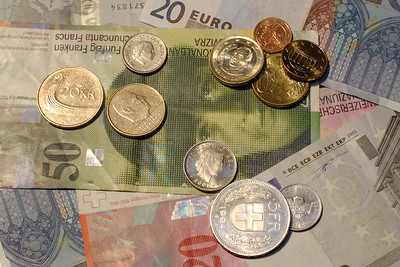 A variety of European currency. © 2004 Kenneth R. Sheide