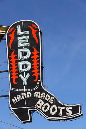 Leddy's Boots sign, Fort Worth, TX. © 2014 Kenneth R. Sheide