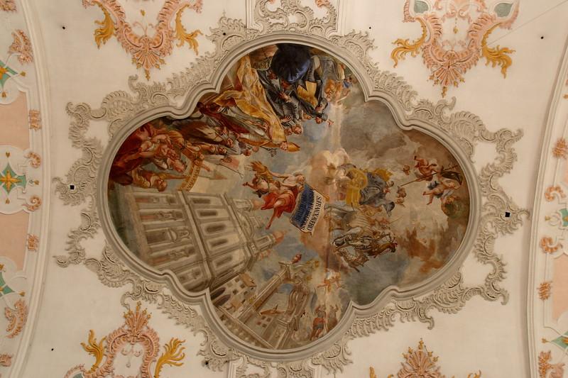 Fresco on the ceiling of the Jesuitenkirche (Jesuit Church) in Lucerne, Switzerland. © 2005 Kenneth R. Sheide