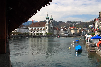 View from the Kapellbrucke (Chapel Bridge) of Lucerne, Switzerland. © 2005 Kenneth R. Sheide