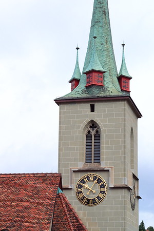 A church tower near the Aare River in the capital city of Berne, Switzerland. © 2004 Kenneth R. Sheide