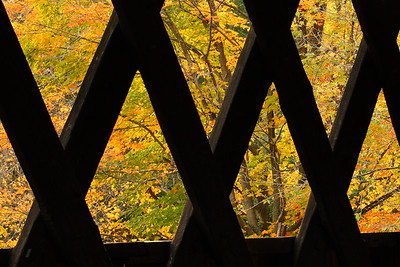 Autumn view from within the Middle Covered Bridge of Woodstock, VT. © 2007 Kenneth R. Sheide