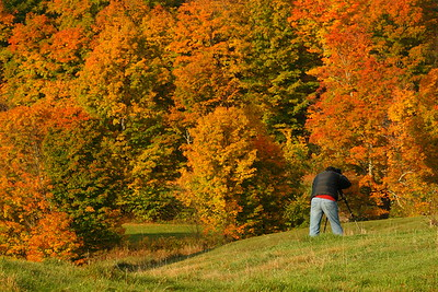 A photographer composes at the Jenne Farm near Woodstock, VT. © 2007 Kenneth R. Sheide