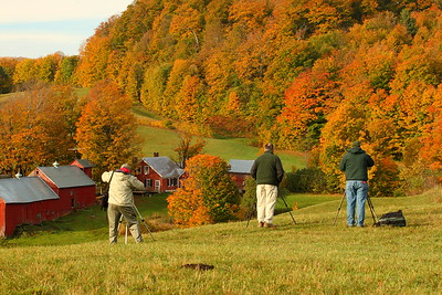 A row of photographers enjoy the morning at Jenne Farm near Woodstock, VT. © 2007 Kenneth R. Sheide