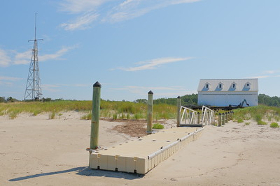 Parramore Beach Life Saving Station. The dock is now floating on sand since the area where boats were launched has filled in with sand since 2010. Parramore Island, Eastern Shore, VA. © 2020 Kenneth R. Sheide