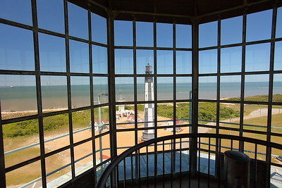 View from lantern room of old lighthouse down to New Cape Henry Lighthouse, VA. © 2013 Kenneth R. Sheide