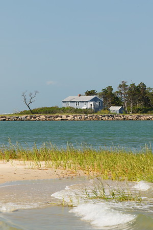 Hollybluff Guest House viewed from Skidmore Island. When I passed in the morning I saw two bald eagles perched in the trees. This peaceful locale can only be reached by boat and is available to rent. Eastern Shore, VA. © 2020 Kenneth R. Sheide