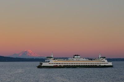 Washington Ferry with Mount Rainier in distance. Puget Sound, WA. © 2017 Kenneth R. Sheide