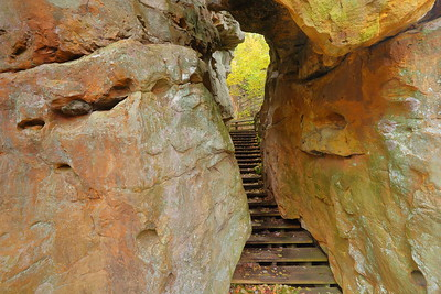 Stairs through hole in rocks at Beartown State Park, WV. © 2018 Kenneth R. Sheide