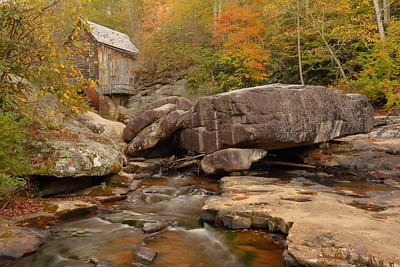 Glade Creek with grist mill in distance, Babcock State Park, WV. © 2019 Kenneth R. Sheide
