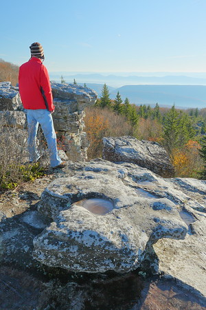 Enjoying the view on a cold morning in Bear Rocks Preserve, WV. © 2018 Kenneth R. Sheide