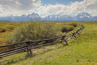 Fence with mountains in distance. Grand Teton National Park, WY. © 2013 Kenneth R. Sheide