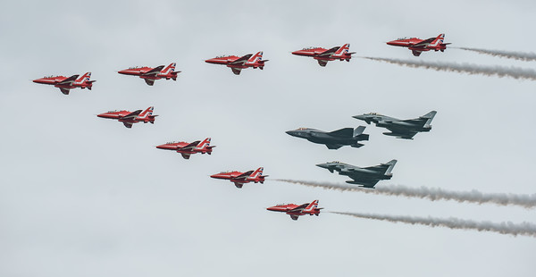BAe, British Aerospace, ED, Eurofighter, F-35, F-35B, FL, Hawk T1, Lightning II, Lockheed Martin, RAF, RIAT2016, Red Arrows, Red Arrows + Guest Red11, Royal Air Force, Typhoon FGR.4, ZK306, ZK310, ZM1 (27.5Mp)