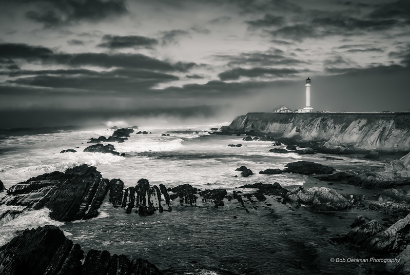 Pt Arena Lighthouse  Protects Against the Coming Storm