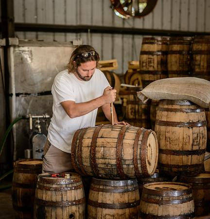 Aaron Testing Bourbon at TImber Creek Distillery
