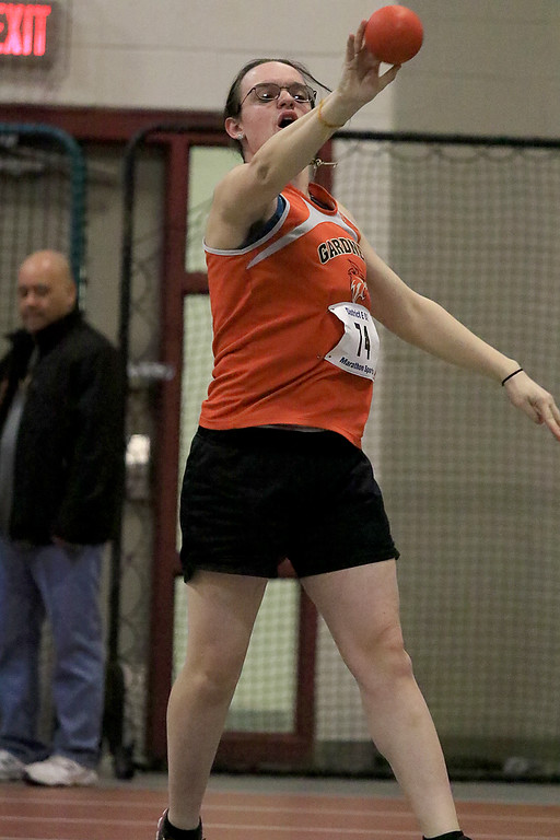 . The Division 2 forty first annual Gerry Frew District E Indoor Invitational Track Meet was held at Fitchburg High School on  Saturday, February 9, 2019. Gardner High School\'s Alice Lemieux competes in the shot put during the meet. SENTINEL & ENTERPRISE/JOHN LOVE