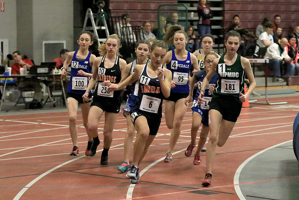 . The Division 2 forty first annual Gerry Frew District E Indoor Invitational Track Meet was held at Fitchburg High School on  Saturday, February 9, 2019. The start of the girls two mile. SENTINEL & ENTERPRISE/JOHN LOVE
