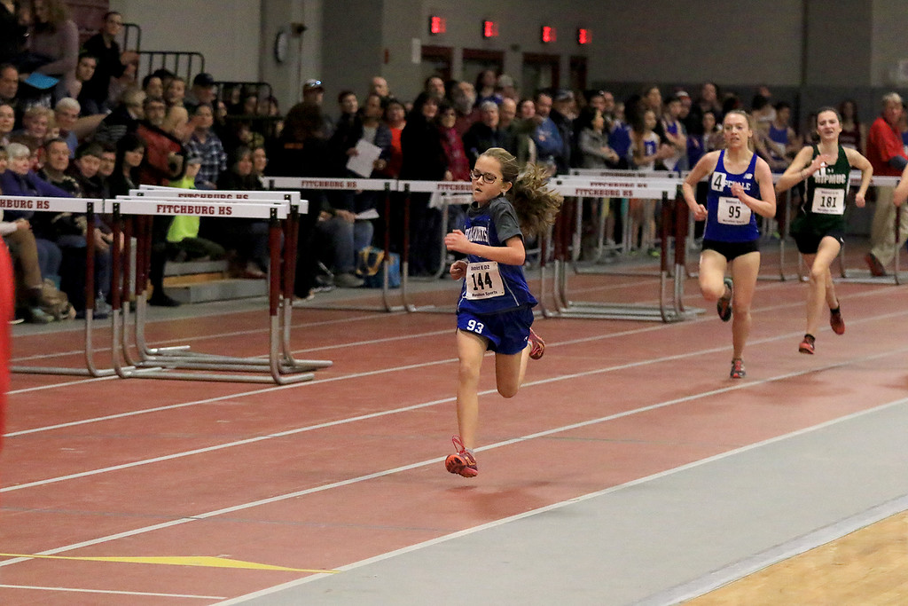 . The Division 2 forty first annual Gerry Frew District E Indoor Invitational Track Meet was held at Fitchburg High School on  Saturday, February 9, 2019. Finishing up strong in the girls two mile is Lunenburg Middle School seventh grader Lauren Long. SENTINEL & ENTERPRISE/JOHN LOVE
