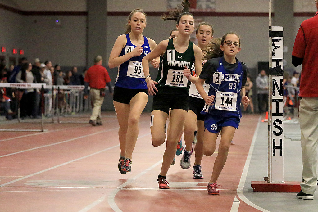 . The Division 2 forty first annual Gerry Frew District E Indoor Invitational Track Meet was held at Fitchburg High School on  Saturday, February 9, 2019. Leading the way in the girls two mile is Lunenburg Middle School seventh grader Lauren Long , far right. Next to her is Nipmuc\'s Emma Nadolski. SENTINEL & ENTERPRISE/JOHN LOVE