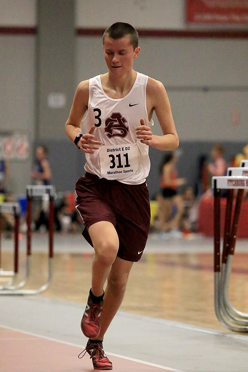 . The Division 2 forty first annual Gerry Frew District E Indoor Invitational Track Meet was held at Fitchburg High School on  Saturday, February 9, 2019. Ayer Shirley Regional High School\'s William Schilp competes in the two mile during the meet. SENTINEL & ENTERPRISE/JOHN LOVE