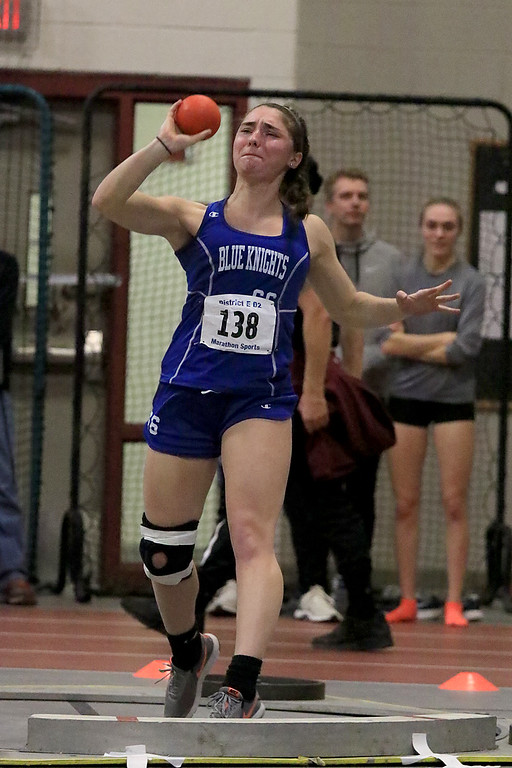 . The Division 2 forty first annual Gerry Frew District E Indoor Invitational Track Meet was held at Fitchburg High School on  Saturday, February 9, 2019. Lunenburg Middle High School\'s Camille Elbthal competes in the shot put during the meet. SENTINEL & ENTERPRISE/JOHN LOVE